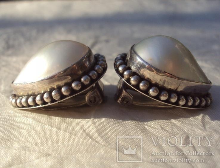 Клипсы серебро жемчуг., фото №6