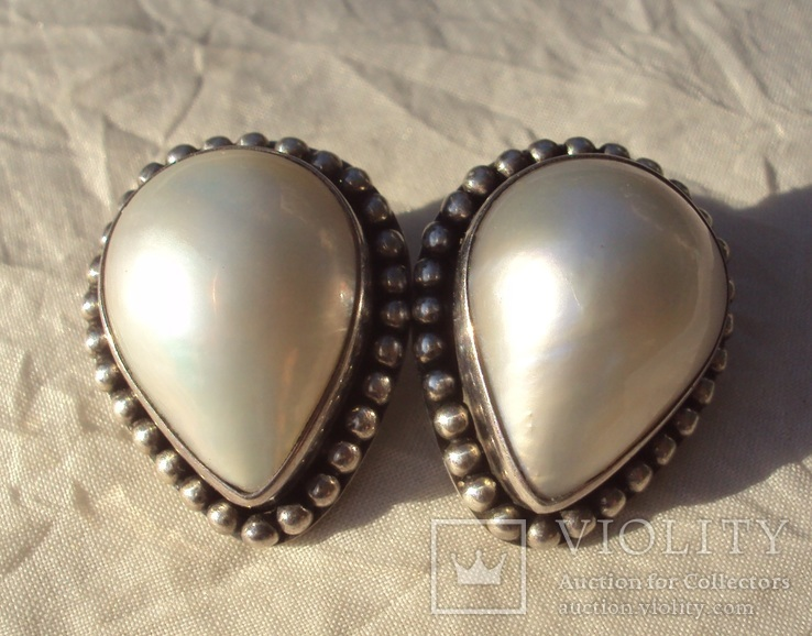 Клипсы серебро жемчуг., фото №7