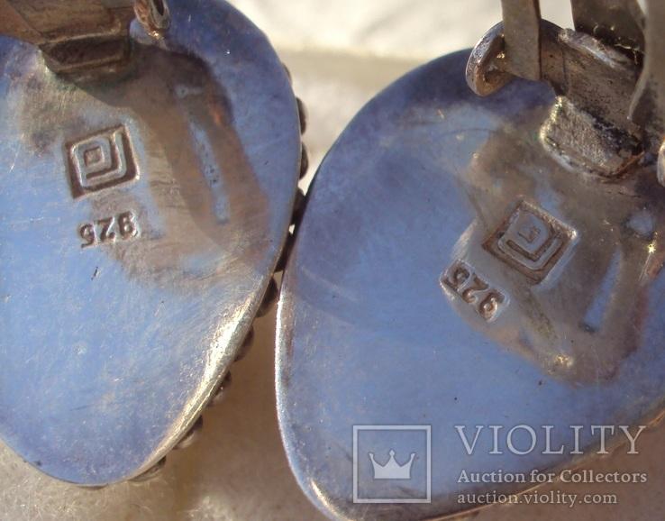 Клипсы серебро жемчуг., фото №9