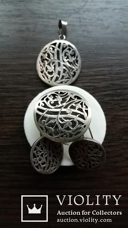 Гарнитур-кулон,кольцо,серьги, фото №2