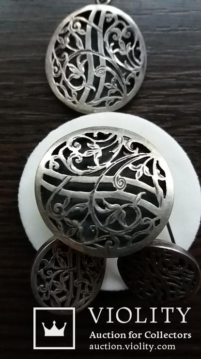 Гарнитур-кулон,кольцо,серьги, фото №3