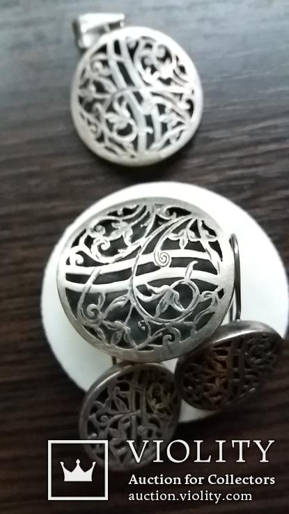 Гарнитур-кулон,кольцо,серьги, фото №4
