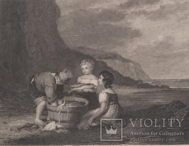 Старинная гравюра. 1836 годa. Дети рыбака.(18,5х12,5см.).