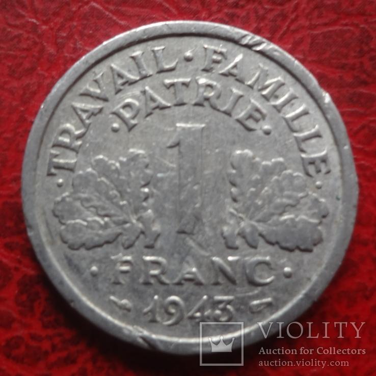 1 франк 1943  Франция     ($7.4.27)~, фото №2