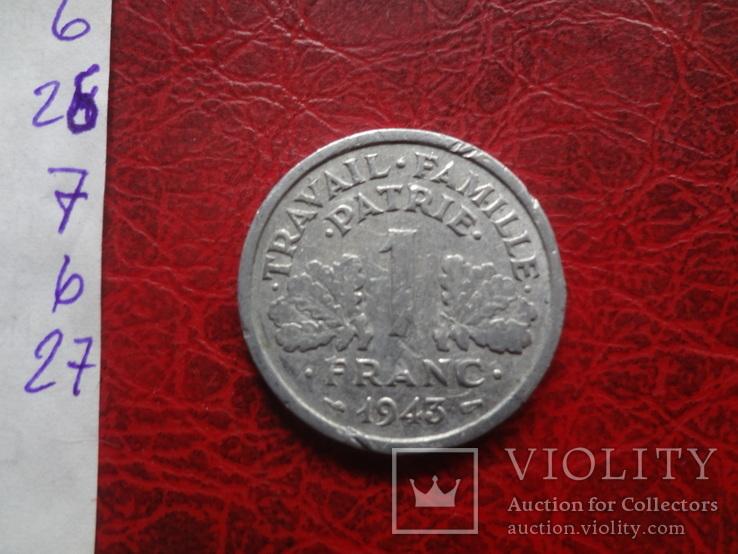 1 франк 1943  Франция     ($7.4.27)~, фото №4