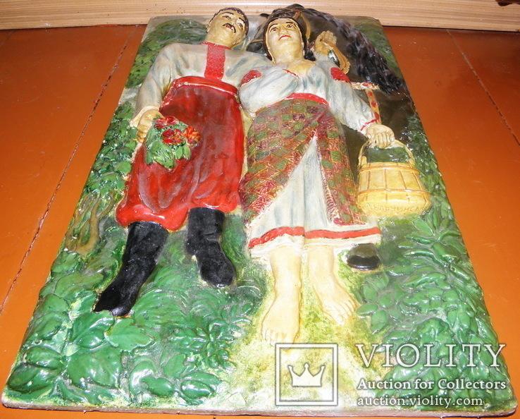 Гіпсовий барельєф картина панно Козак та дівчина закохані, фото №6