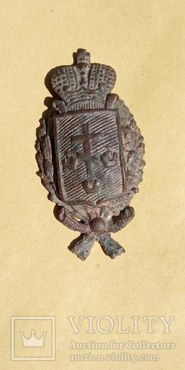 Кокарда полицейского Херсонской губернии с остатками позолоты, фото №3