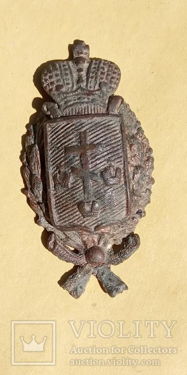 Кокарда полицейского Херсонской губернии с остатками позолоты, фото №2