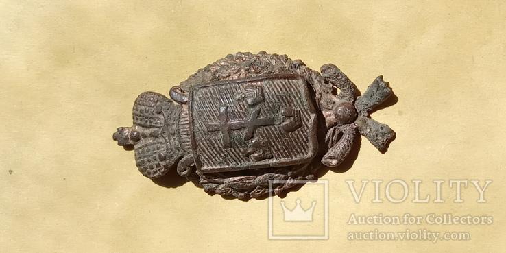 Кокарда полицейского Херсонской губернии с остатками позолоты, фото №4