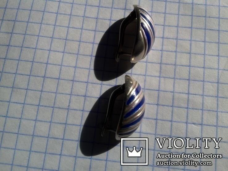 Серьги из серебра времен СССР с синими вставками, фото №2