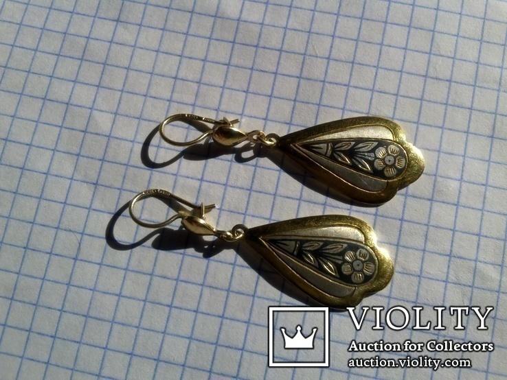 Серьги из серебра времён СССР с позолотой и рисунком, фото №4