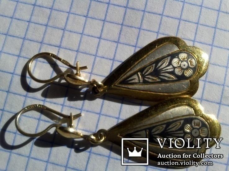 Серьги из серебра времён СССР с позолотой и рисунком, фото №5