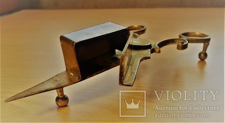 Старинные ножницы-щипцы свечные, Латунь, литье. Европа. Бонус - доставка., фото №9
