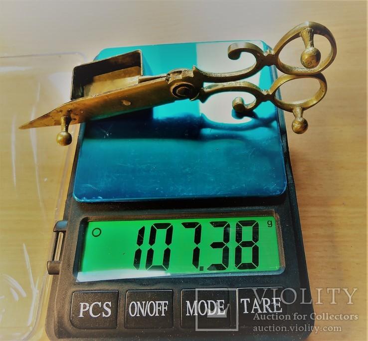 Старинные ножницы-щипцы свечные, Латунь, литье. Европа. Бонус - доставка., фото №10