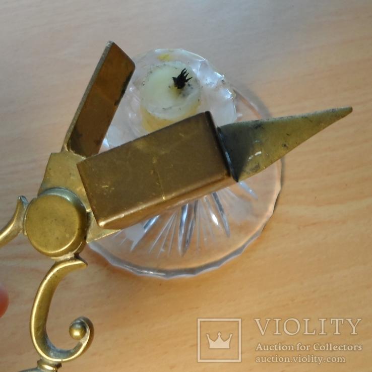Старинные ножницы-щипцы свечные, Латунь, литье. Европа. Бонус - доставка., фото №11