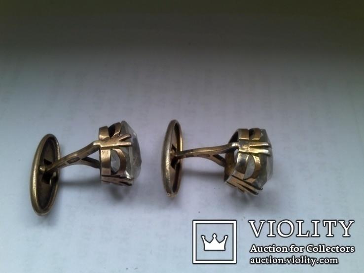 Запонки из серебра времен СССР с хрусталём, фото №3