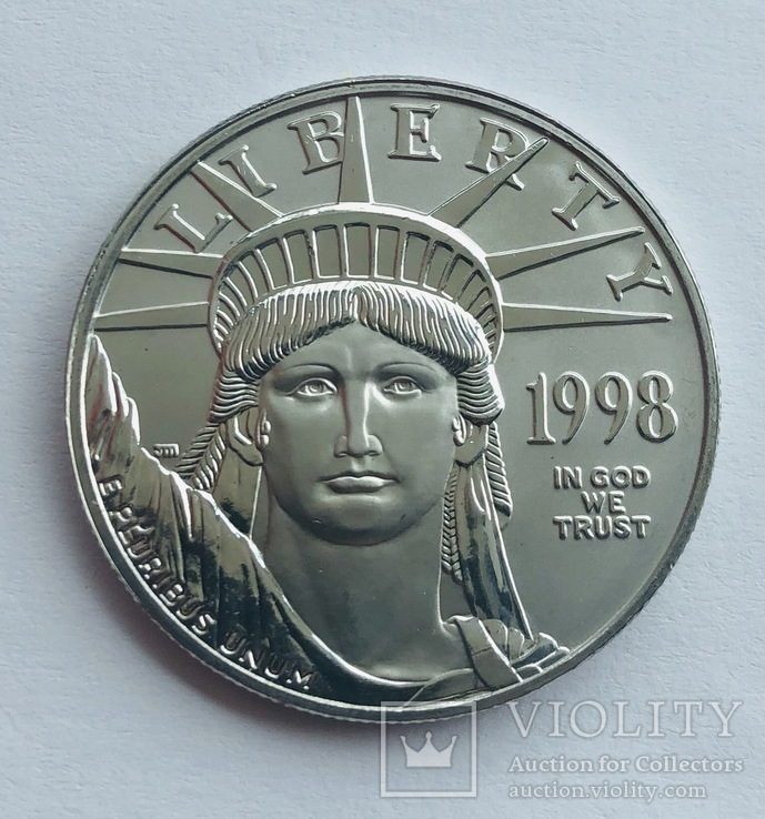 100 $ 1998 год США платина 31,1 грамм 999,5', фото №2