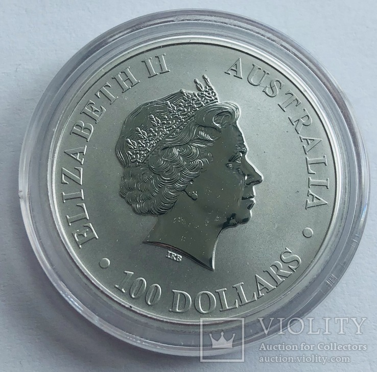 100 $ 2018 год Австралия «Кенгуру» платина 31,1 грамм 999,5', фото №3