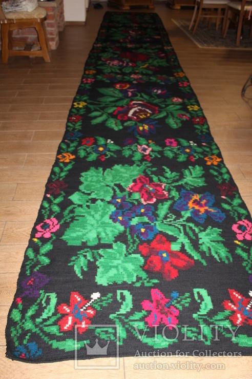 № 185 Буковинський вовняний килим 1958 року  6.60м. ковёр доріжка, фото №3