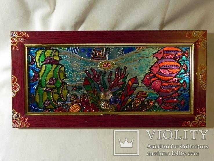 Витражная картина «Рыбы.На границе», фото №3