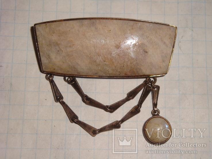 Уральская брошь серебро 875 проба с камнем, фото №2
