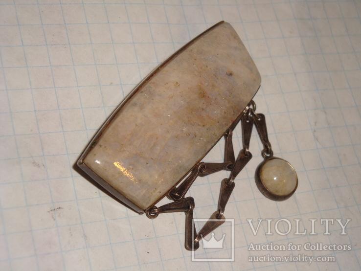 Уральская брошь серебро 875 проба с камнем, фото №5