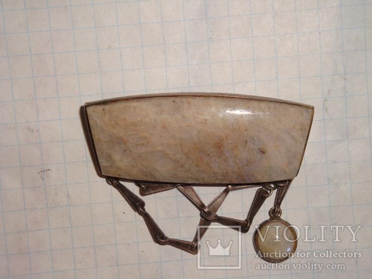 Уральская брошь серебро 875 проба с камнем, фото №6