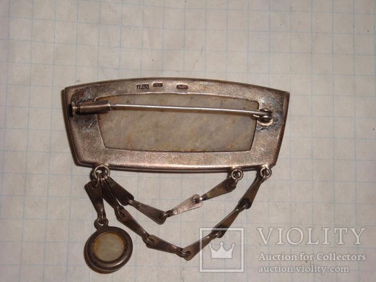 Уральская брошь серебро 875 проба с камнем, фото №10