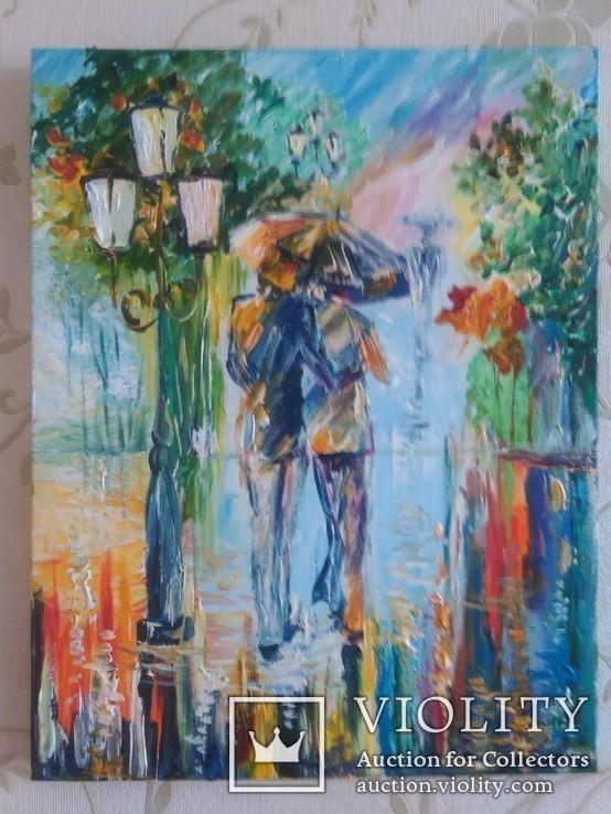 """Картина """"Влюбленные под дождем"""" 35 на 45 акрил"""