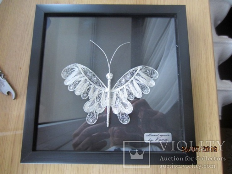 Бабочка филигрань серебряная нить ручная работа