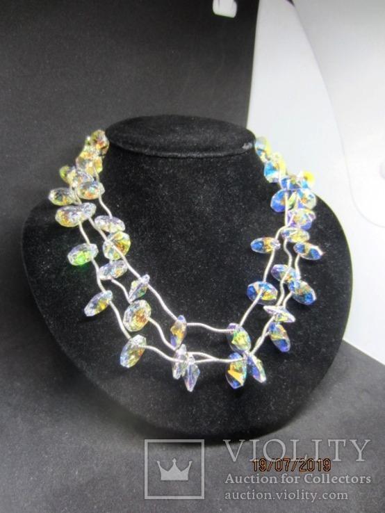 Ожерелье Cваровски серебро 925, фото №6