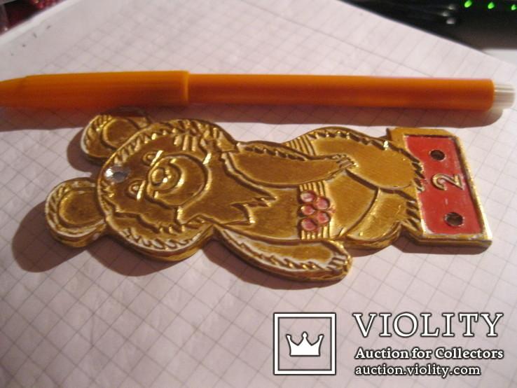 Мишка олимпийский металл золотистый ссср, фото №4