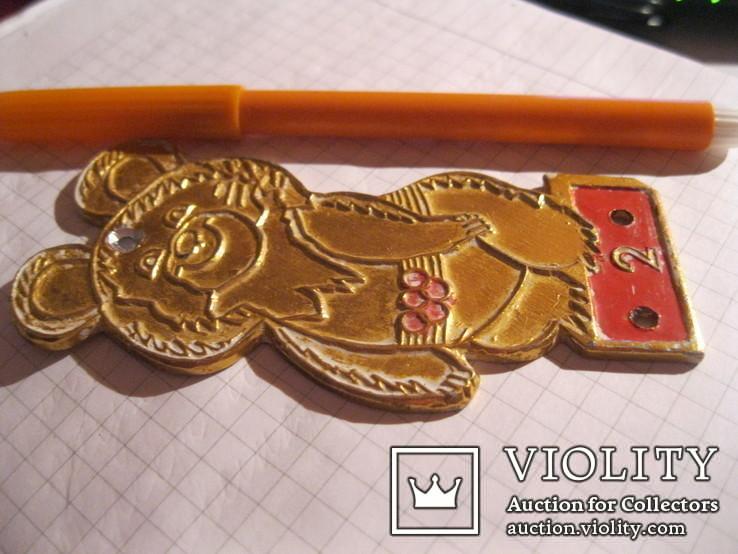 Мишка олимпийский металл золотистый ссср, фото №5