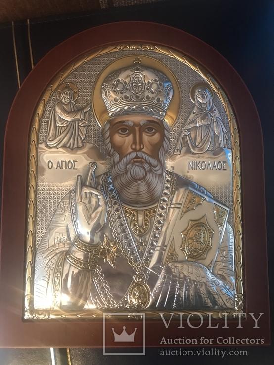 Икона святого Николая. Оклад посеребрённый ., фото №2