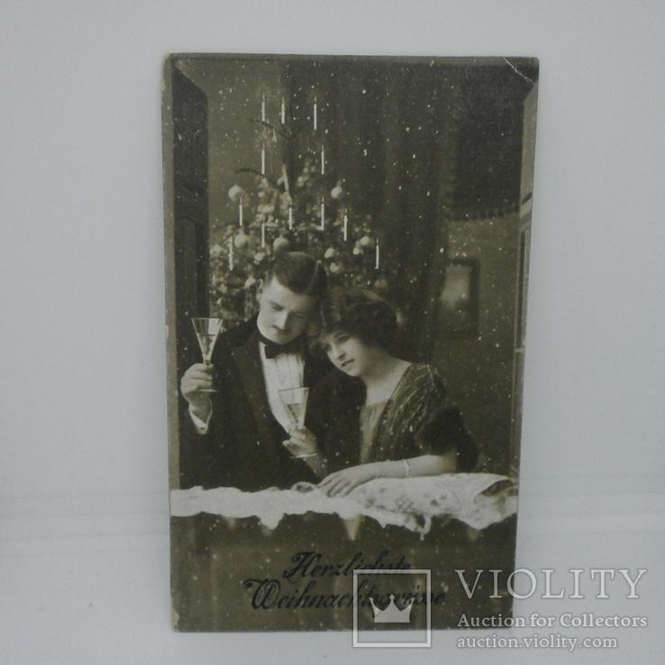 Открытка С Новым годом. девушка и молодой человек. на обороте - Полевая почта
