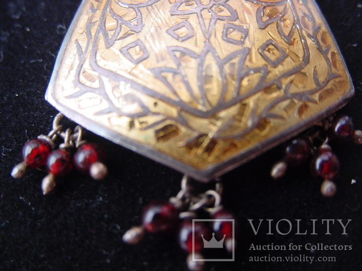 Набор серьги и подвес из Индии Ручная работа Серебро и гранаты, фото №6