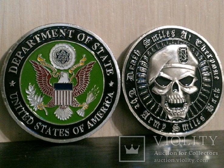 Зеленый берет US.Army - сувенирный жетон