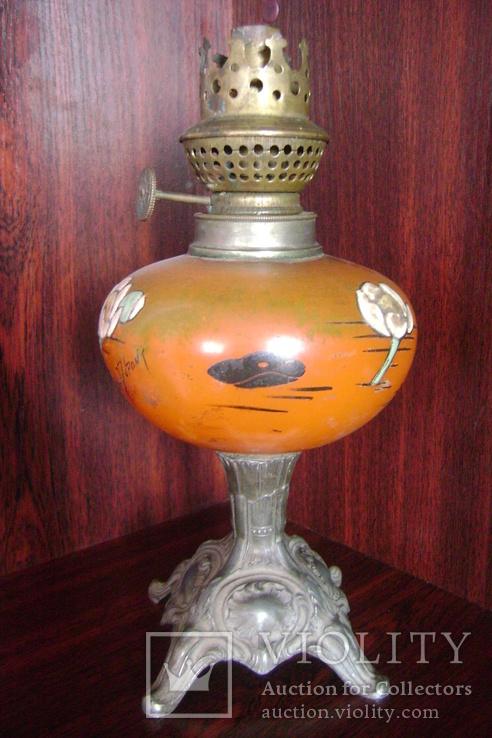 Лампа модерн. . Подпись автора росписей по стеклу.