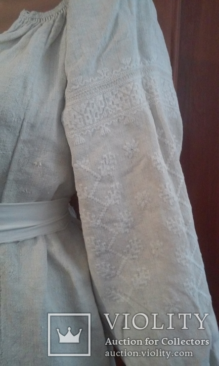 Старинная украинская вышиванка- оберег(Сумщина)   белым по  белому с вырезанием., фото №3