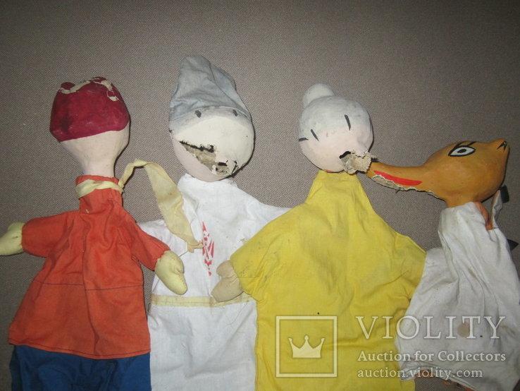 Старинные перчаточные куклы кукольный театр 13шт опилки СССР, фото №4