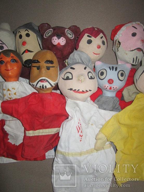Старинные перчаточные куклы кукольный театр 13шт опилки СССР, фото №5