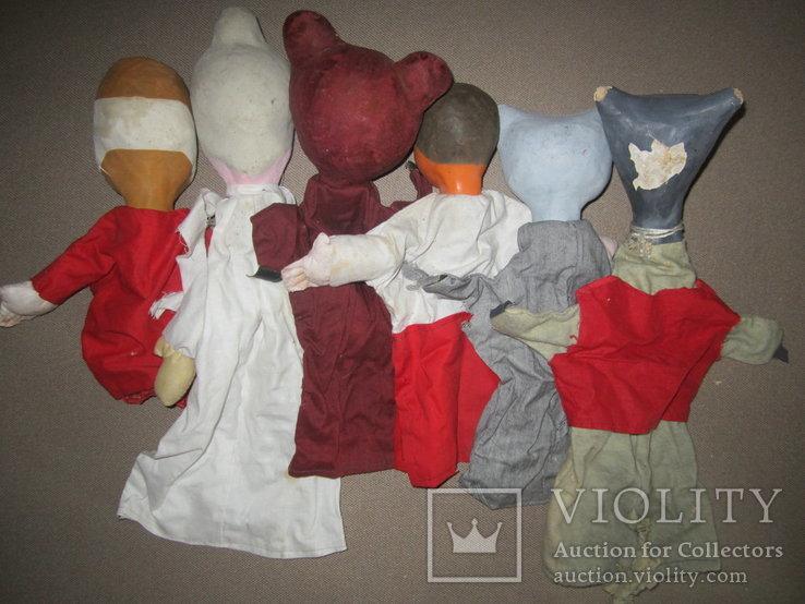Старинные перчаточные куклы кукольный театр 13шт опилки СССР, фото №7