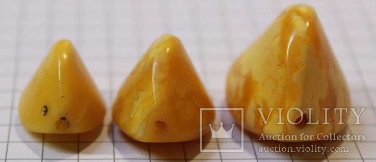 3 бусины Пейзажный янтарь 6,79 гр., фото №4