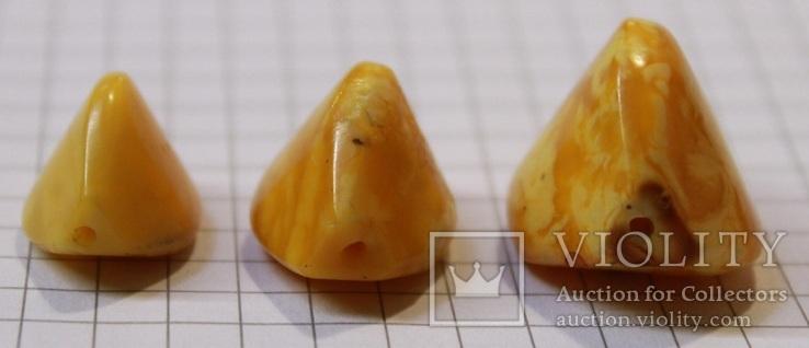 3 бусины Пейзажный янтарь 6,79 гр., фото №5