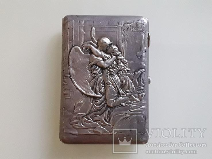 """Сюжетный серебряный портсигар 84* """" Поцелуй Тамары демона """", фото №2"""