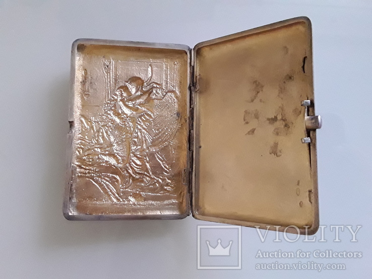"""Сюжетный серебряный портсигар 84* """" Поцелуй Тамары демона """", фото №4"""