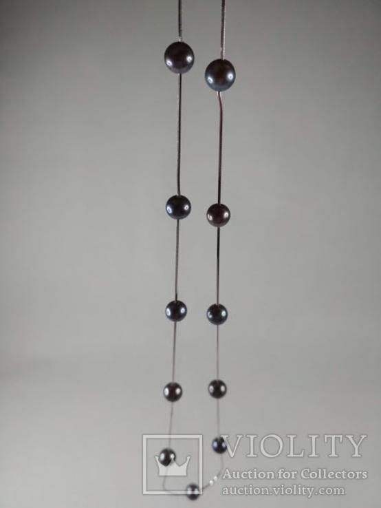 Золотое ожерелье с черным жемчугом, фото №3