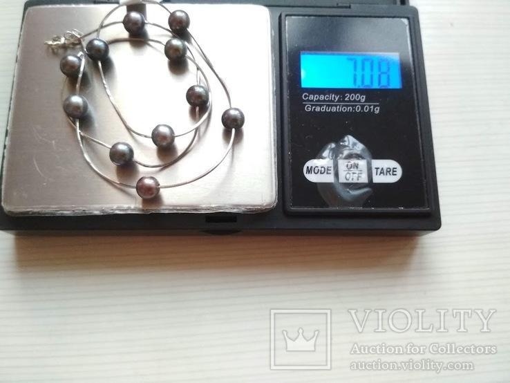 Золотое ожерелье с черным жемчугом, фото №10