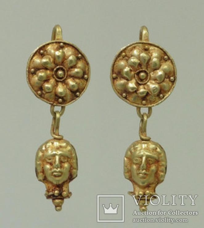 Античные золотые серьги  вес 9.1