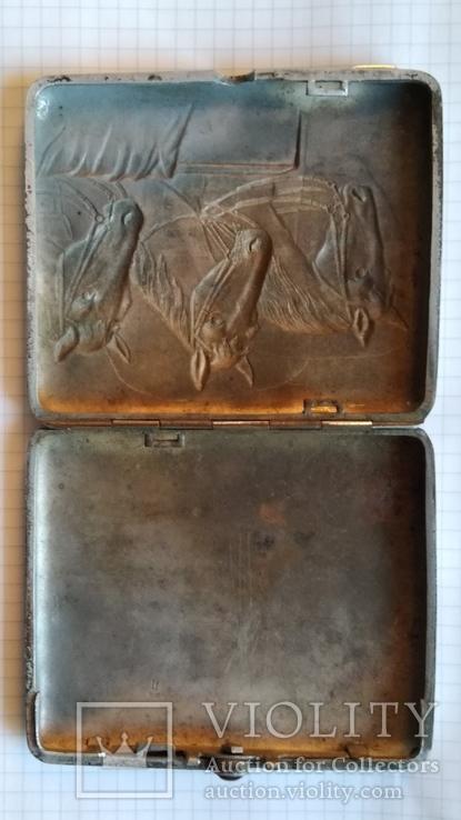 Портсигар Тройка с янтарной кнопкой и клеймом, фото №4